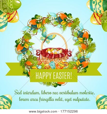 Easter egg hunt basket greeting poster. Easter egg and wicker basket framed by spring floral wreath of lily, tulip flower and ribbon banner with wishes of Happy Easter Holiday for greeting card design