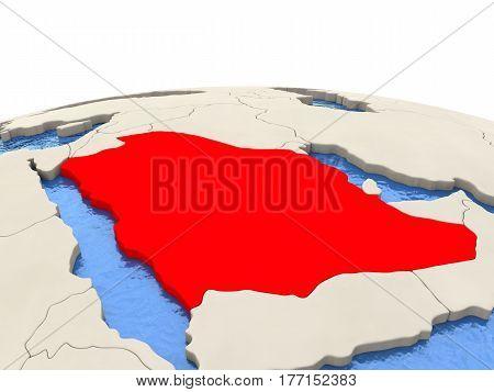 Saudi Arabia On Globe With Watery Seas