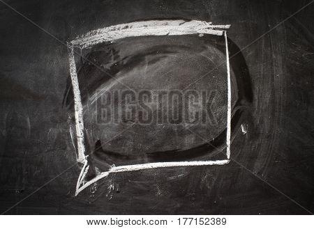 Comics speech bubble drawn on the black chalkboard.