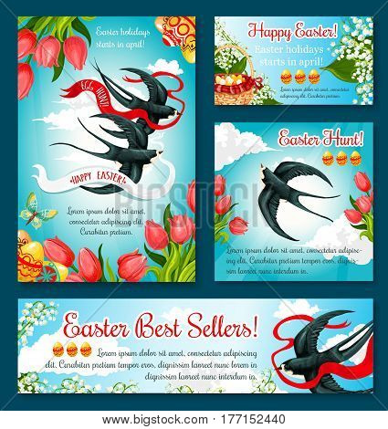 Easter Egg Hunt festive banner template set. Patterned Easter egg in wicker basket with tulip and lily flowers, swallow bird carrying ribbon banner with spring sky on background. Easter holiday design