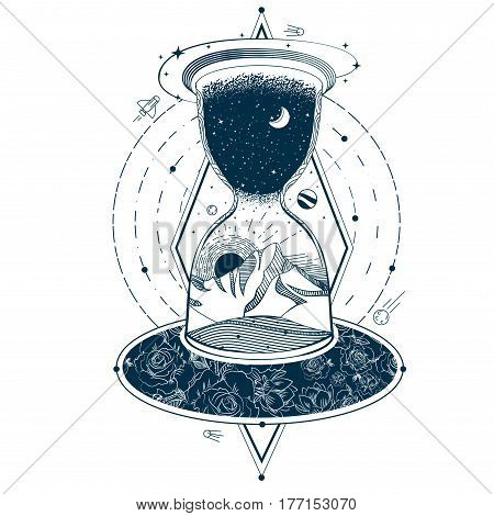 Vector illustration of a sketch of an abstract tattoo with an hourglass enclosing the sky and the earth against the background of an infinite universe. Mystical symbol of time