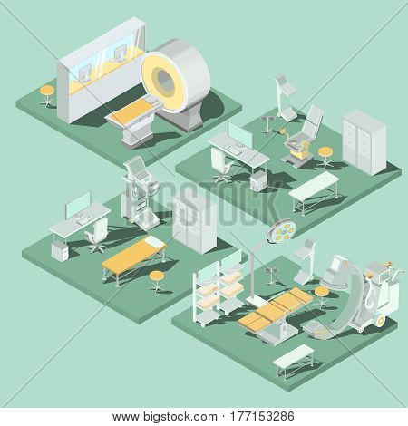 Set of 3D flat isometric illustrations interior of medical premises in the clinic MRI room, ultrasound room, gynecological office, operating room with the appropriate equipment