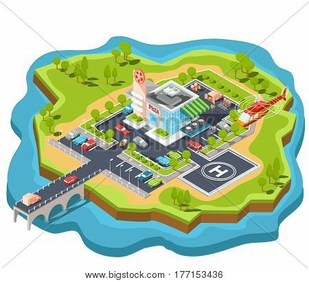 Vector isometric illustration of a modern Italian fast food restaurant with parking and helipad. Isometric pizzeria with a giant pizza sign, Italian cuisine