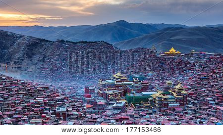 Panorama top view monastery at Larung gar (Buddhist Academy) in sunset time Sichuan China
