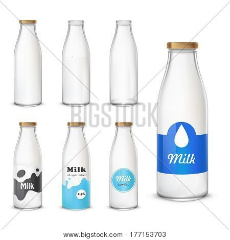 Set of vector icons glass bottles empty and with a milk in a realistic style. Milk bottles with different label patterns isolated on white background