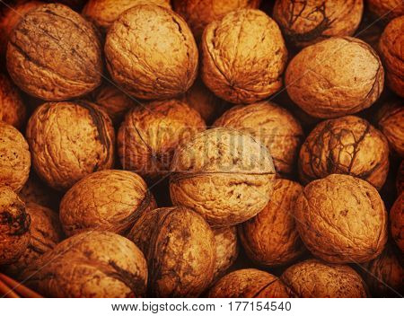 Background of many close walnuts