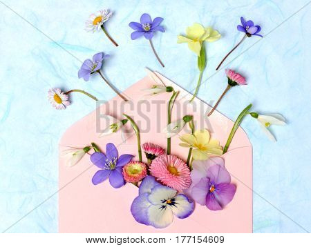 envelope with spring flowers