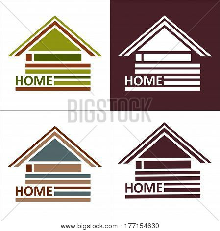 Real estate symbols - roofs of houses and buildings, such a logo idea, icon design template element.