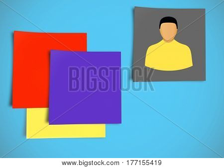 Digital composite of Sticky Note Person Individual icon against blue background
