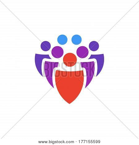 Vector icon or illustration showing communication as group of people in material design style