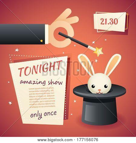 Magic circus hand show holding wand poster template stylish background retro cartoon design vector illustration