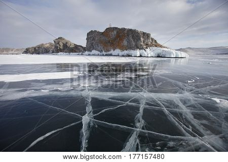 Mare's Head Cape, Cracks In Ice Of Lake Baikal, Olkhon Island.