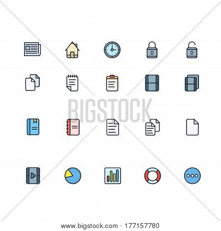 Set of General Related Vector Colored Icons. Contains such Icons as Home, Newspaper, Pie Chart, Bar Charts, Document, Life Buoy, Lock and more. Fully Editable. Neatly Done.