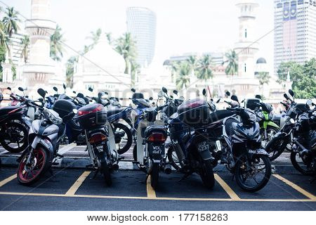 Row of motorcycles in the street shop Pahang, Malaysia