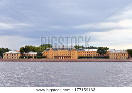 Menshikov Palace on University Embankment of Neva River in St.Petersburg Russia.