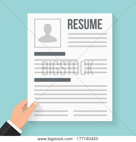 Hand holding resume, flat design, vector eps10 illustration