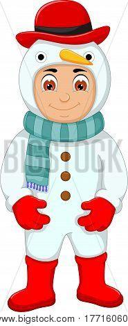 cute little boy cartoon with snowman costume