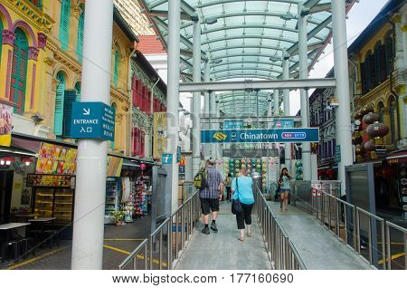 Singapore Singapore - September 20 2014:Subway station in China town at Singapore.