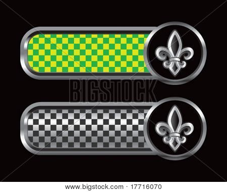 fleur de lis on green and black checkered banners
