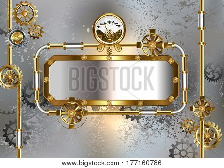 Industrial banner with an antique manometer and metal pipes on a gray concrete background. Steampunk style. Industrial design.