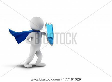 Little man as superhero with cape and shield. 3D Rendering