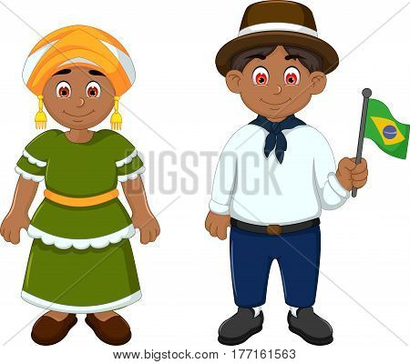 Cute Couple brazilians cartoon with National Clothes