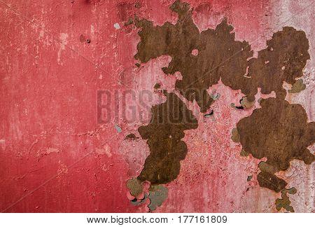 Metal, metal texture, old painted metal background, red metal, rusty metal, old metal