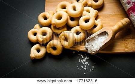 typical snack of region puglia in italy known as taralli