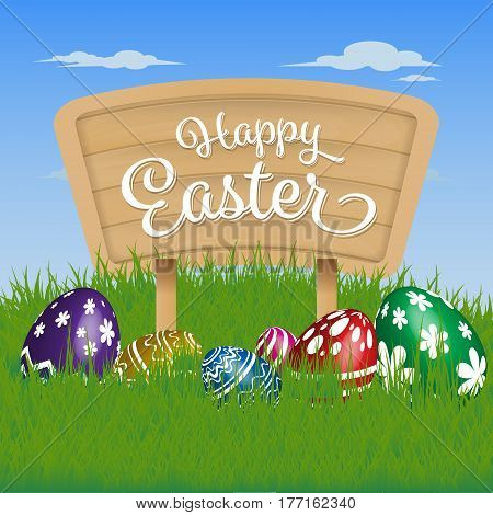 Happy Easter Background. Painting Eggs Hidden on Grass and Happy Easter Typographic on Wooden Sign Board. Vector illustration