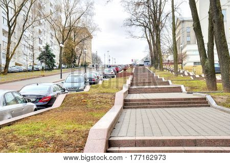 MINSK BELORUSSIA - March 11.2017: Karl Marx Street. Modern street in the historic center of the city