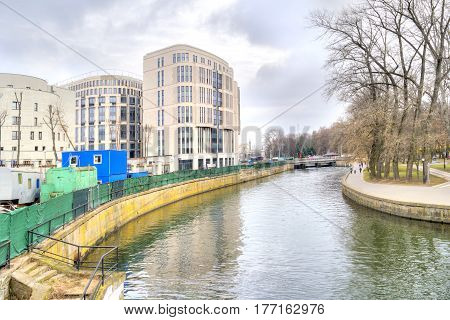 MINSK BELORUSSIA - March 11.2017: Minsk. Houses on the riverside of the river Svislach in the city center