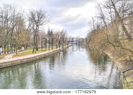 MINSK BELORUSSIA - March 11.2017: Minsk. City Park on the riverside of the river Svislach in the city center