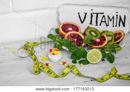 Pills Vitamins And Fruits