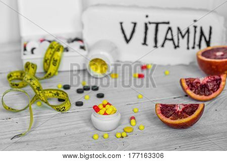 Pills Vitamins And Fruits