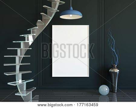 Interior mockup illustration, 3d render of black room with spiral staircase and blank board