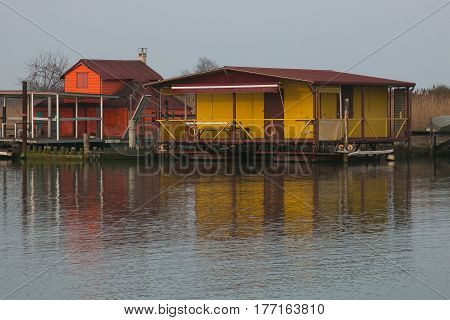 Stilt house and fishing nets along the Po Delta Italy