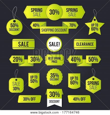 Spring sale tag set for commercial and private use and mainly for the holiday clearance sale period