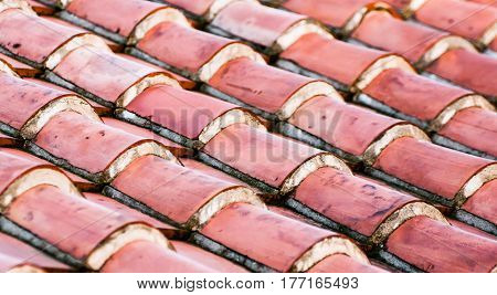 red  textured roof tiles in a row