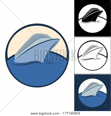 Set of cruise liner logos. Logo on the sea theme. Logos for travel agencies. Logo for travel and travelers.