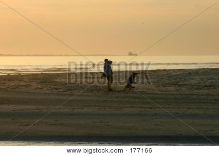 poster of man playing with dog at sunset
