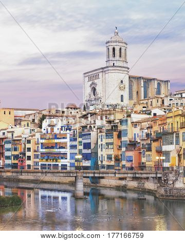 historical jewish quarter in Girona, view from Eiffel Bridge at sunrise, Barcelona, Spain, Catalonia