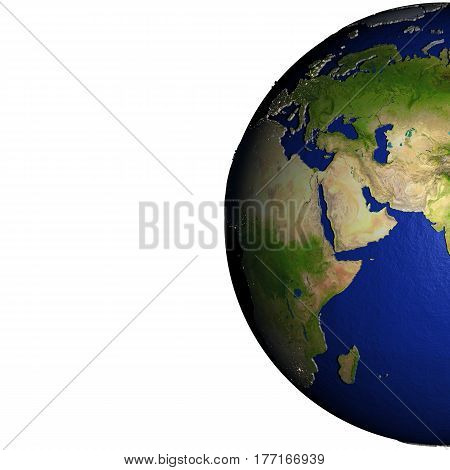 Middle East On Model Of Earth With Embossed Land