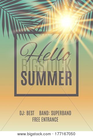 Vector illustration of Summer party poster background.