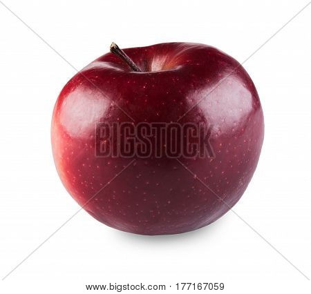One ripe fresh bright purplish glossy red apple isolated on white background. Closeup image of sweet fruit, healthy natural organic food