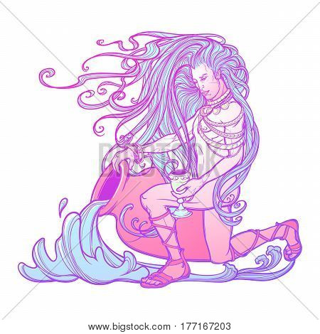 Zodiac sign Aquarius. Young man with long hair holding large amphora. Water flowing out. Vintage art nouveau style concept art for horoscope, tattoo or colouring book.
