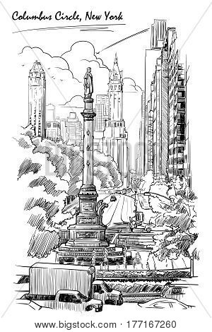 Urban view of Columbus Circus and West 59th street in New York. Hand drawn sketch isolated on white background. EPS10 vector illustration.