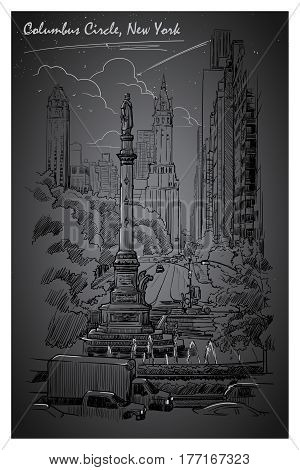 City Nightlife at Columbus Circus and West 59th street in New York. Hand drawn sketch isolated on white background. EPS10 vector illustration.