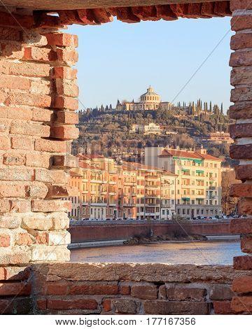 historical quarter of Verona, sunny view on fort San Leonardo, Italy