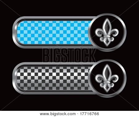 fleur de lis on blue and black checkered tabs
