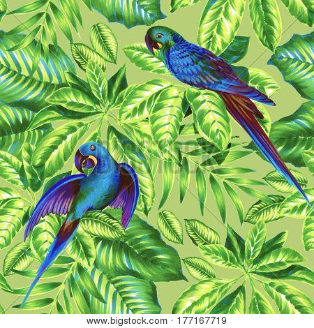 seamless tropical pattern with blue parrots. Fresh modern tonal pattern  with love birds. blue parakeets and palm leaves
